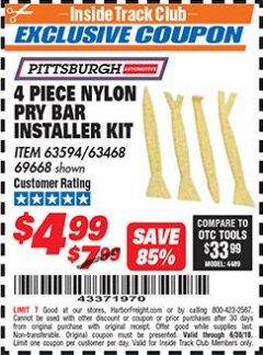 Harbor Freight ITC Coupon 4 PIECE NYLON PRY BAR INSTALLER KIT Lot No. 69668/63594 Expired: 6/30/18 - $4.99
