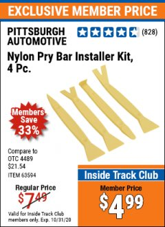 Harbor Freight ITC Coupon 4 PIECE NYLON PRY BAR INSTALLER KIT Lot No. 69668/63594 Expired: 10/31/20 - $4.99
