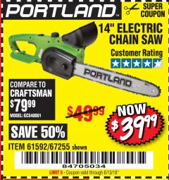 "Harbor Freight Coupon 14"" ELECTRIC CHAIN SAW Lot No. 67255/61592 Expired: 6/13/18 - $39.99"