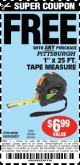 "Harbor Freight FREE Coupon 1"" X 25 FT. TAPE MEASURE Lot No. 69080/69030/69031/47737 Expired: 5/1/15 - FWP"