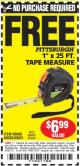 "Harbor Freight FREE Coupon 1"" X 25 FT. TAPE MEASURE Lot No. 69080/69030/69031/47737 Expired: 4/26/15 - NPR"