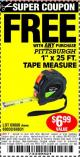 "Harbor Freight FREE Coupon 1"" X 25 FT. TAPE MEASURE Lot No. 69080/69030/69031/47737 Expired: 8/26/15 - FWP"