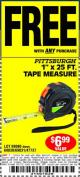 "Harbor Freight FREE Coupon 1"" X 25 FT. TAPE MEASURE Lot No. 69080/69030/69031/47737 Expired: 9/17/15 - FWP"