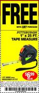 "Harbor Freight FREE Coupon 1"" X 25 FT. TAPE MEASURE Lot No. 69080/69030/69031/47737 Expired: 10/21/15 - FWP"