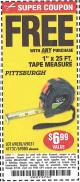 "Harbor Freight FREE Coupon 1"" X 25 FT. TAPE MEASURE Lot No. 69080/69030/69031/47737 Expired: 9/7/15 - FWP"