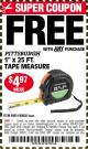 "Harbor Freight FREE Coupon 1"" X 25 FT. TAPE MEASURE Lot No. 69080/69030/69031/47737 Expired: 3/30/17 - FWP"