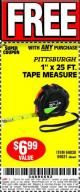 "Harbor Freight FREE Coupon 1"" X 25 FT. TAPE MEASURE Lot No. 69080/69030/69031/47737 Expired: 5/29/17 - FWP"