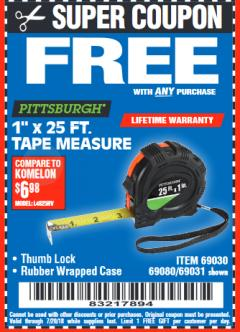 "Harbor Freight FREE Coupon 1"" X 25 FT. TAPE MEASURE Lot No. 69080/69030/69031/47737 Expired: 7/20/18 - FWP"