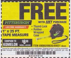 "Harbor Freight FREE Coupon 1"" X 25 FT. TAPE MEASURE Lot No. 69080/69030/69031/47737 Expired: 6/25/18 - FWP"