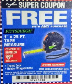 "Harbor Freight FREE Coupon 1"" X 25 FT. TAPE MEASURE Lot No. 69080/69030/69031/47737 Expired: 10/30/18 - FWP"