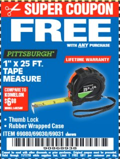 "Harbor Freight FREE Coupon 1"" X 25 FT. TAPE MEASURE Lot No. 69080/69030/69031/47737 Expired: 11/17/18 - FWP"