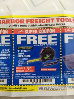 "Harbor Freight FREE Coupon 1"" X 25 FT. TAPE MEASURE Lot No. 69080/69030/69031/47737 Valid Thru: 2/22/19 - FWP"
