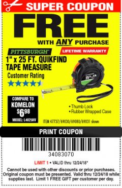 "Harbor Freight FREE Coupon 1"" X 25 FT. TAPE MEASURE Lot No. 69080/69030/69031/47737 Expired: 12/24/18 - FWP"