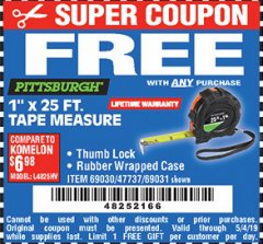 "Harbor Freight FREE Coupon 1"" X 25 FT. TAPE MEASURE Lot No. 69080/69030/69031/47737 Valid Thru: 5/4/19 - FWP"