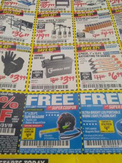 "Harbor Freight FREE Coupon 1"" X 25 FT. TAPE MEASURE Lot No. 69080/69030/69031/47737 Valid Thru: 4/30/19 - FWP"