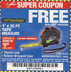 "Harbor Freight FREE Coupon 1"" X 25 FT. TAPE MEASURE Lot No. 69080/69030/69031/47737 Valid Thru: 5/22/19 - FWP"
