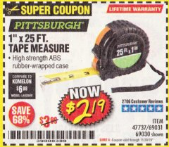 "Harbor Freight Coupon 1"" X 25 FT. TAPE MEASURE Lot No. 69080/69030/69031 Valid Thru: 11/30/19 - $2.19"
