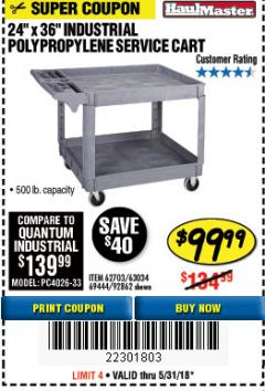 "Harbor Freight Coupon 24"" X 36"" TWO SHELF INDUSTRIAL POLYPROPYLENE SERVICE CART Lot No. 69444/62703/92862 Expired: 5/31/18 - $99.99"