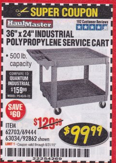 "Harbor Freight Coupon 24"" X 36"" TWO SHELF INDUSTRIAL POLYPROPYLENE SERVICE CART Lot No. 69444/62703/92862 Expired: 8/31/19 - $99.99"