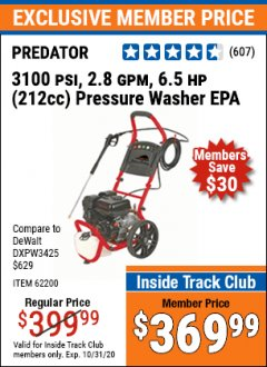 Harbor Freight ITC Coupon 3100 PSI, 2.8 GPM 6.5 HP (212 CC) GAS POWERED PRESSURE WASHERS WITH 25 FT. HOSE Lot No. 62200/62214 Expired: 10/31/20 - $369.99