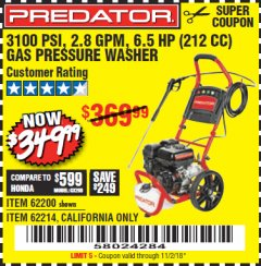 Harbor Freight Coupon 3100 PSI, 2.8 GPM 6.5 HP (212 CC) GAS POWERED PRESSURE WASHERS WITH 25 FT. HOSE Lot No. 62200/62214 Expired: 11/2/18 - $349.99