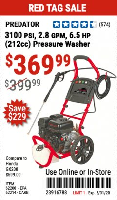 Harbor Freight Coupon 3100 PSI, 2.8 GPM 6.5 HP (212 CC) GAS POWERED PRESSURE WASHERS WITH 25 FT. HOSE Lot No. 62200/62214 Expired: 8/31/20 - $369.99