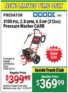 Harbor Freight Coupon 3100 PSI, 2.8 GPM 6.5 HP (212 CC) GAS POWERED PRESSURE WASHERS WITH 25 FT. HOSE Lot No. 62200/62214 Expired: 11/25/20 - $369.99