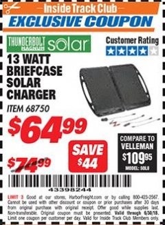 Harbor Freight ITC Coupon 13 WATT BRIEFCASE SOLAR CHARGER Lot No. 95000/68750 Dates Valid: 6/1/18 - 6/30/18 - $64.99