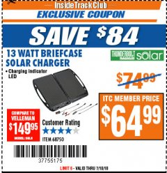 Harbor Freight ITC Coupon 13 WATT BRIEFCASE SOLAR CHARGER Lot No. 68750 Expired: 7/10/18 - $64.99