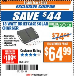 Harbor Freight ITC Coupon 13 WATT BRIEFCASE SOLAR CHARGER Lot No. 68750 Expired: 8/14/18 - $64.99