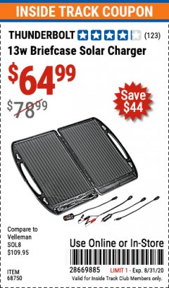 Harbor Freight ITC Coupon 13 WATT BRIEFCASE SOLAR CHARGER Lot No. 68750 Expired: 8/31/20 - $64.99