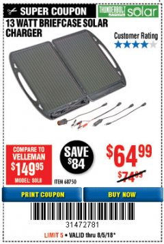 Harbor Freight Coupon 13 WATT BRIEFCASE SOLAR CHARGER Lot No. 68750 Expired: 8/5/18 - $64.99