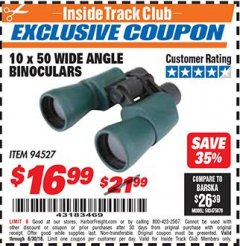 Harbor Freight ITC Coupon 10 X 50 WIDE ANGLE BINOCULARS Lot No. 94527 Dates Valid: 6/1/18 - 6/30/18 - $16.99