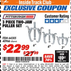 Harbor Freight ITC Coupon 3 PIECE TWO JAW PULLER SET Lot No. 40966 Expired: 11/30/18 - $22.99