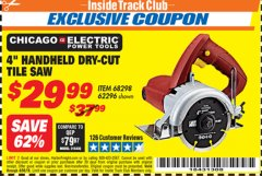 Harbor Freight ITC Coupon 4 IN. HANDHELD DRY-CUT TILE SAW Lot No. 61417/62296/68298 Expired: 4/30/19 - $29.99