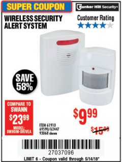 Harbor Freight Coupon WIRELESS SECURITY ALERT SYSTEM Lot No. 93068/69590/61910/62447 Expired: 5/14/18 - $9.99