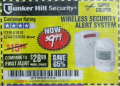 Harbor Freight Coupon WIRELESS SECURITY ALERT SYSTEM Lot No. 93068/69590/61910/62447 Expired: 10/3/18 - $9.99