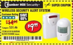 Harbor Freight Coupon WIRELESS SECURITY ALERT SYSTEM Lot No. 93068/69590/61910/62447 Expired: 11/12/17 - $9.99