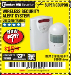Harbor Freight Coupon WIRELESS SECURITY ALERT SYSTEM Lot No. 93068/69590/61910/62447 Expired: 8/20/18 - $9.99