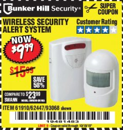 Harbor Freight Coupon WIRELESS SECURITY ALERT SYSTEM Lot No. 93068/69590/61910/62447 Expired: 10/18/18 - $9.99