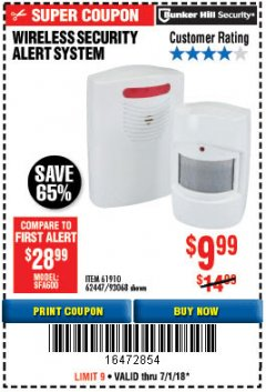 Harbor Freight Coupon WIRELESS SECURITY ALERT SYSTEM Lot No. 93068/69590/61910/62447 Expired: 7/1/18 - $9.99
