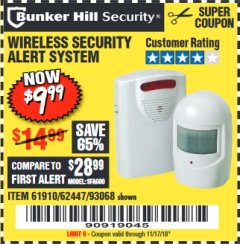 Harbor Freight Coupon WIRELESS SECURITY ALERT SYSTEM Lot No. 93068/69590/61910/62447 Expired: 11/17/18 - $9.99