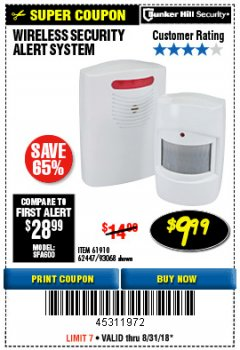 Harbor Freight Coupon WIRELESS SECURITY ALERT SYSTEM Lot No. 93068/69590/61910/62447 Expired: 8/31/18 - $9.99