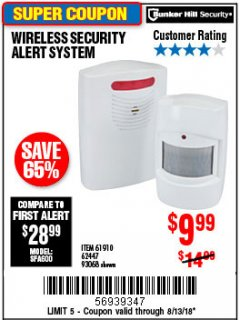 Harbor Freight Coupon WIRELESS SECURITY ALERT SYSTEM Lot No. 93068/69590/61910/62447 Expired: 8/13/18 - $9.99