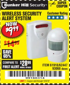 Harbor Freight Coupon WIRELESS SECURITY ALERT SYSTEM Lot No. 93068/69590/61910/62447 Expired: 12/9/18 - $9.99