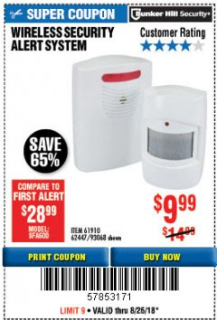Harbor Freight Coupon WIRELESS SECURITY ALERT SYSTEM Lot No. 93068/69590/61910/62447 Expired: 8/26/18 - $9.99