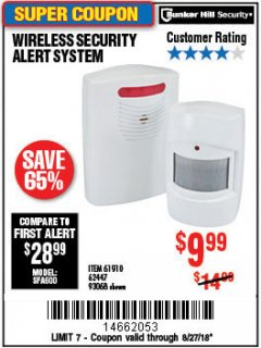 Harbor Freight Coupon WIRELESS SECURITY ALERT SYSTEM Lot No. 93068/69590/61910/62447 Expired: 8/27/18 - $9.99