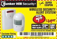 Harbor Freight Coupon WIRELESS SECURITY ALERT SYSTEM Lot No. 93068/69590/61910/62447 Expired: 12/26/18 - $9.99