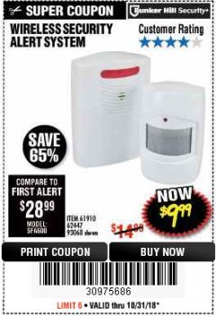 Harbor Freight Coupon WIRELESS SECURITY ALERT SYSTEM Lot No. 93068/69590/61910/62447 Expired: 10/31/18 - $9.99
