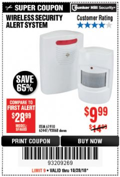 Harbor Freight Coupon WIRELESS SECURITY ALERT SYSTEM Lot No. 93068/69590/61910/62447 Expired: 10/28/18 - $9.99